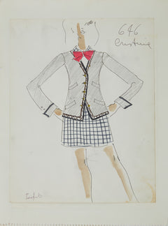 Karl Lagerfeld Original Fashion Sketch Ink Drawing with Watercolor 646