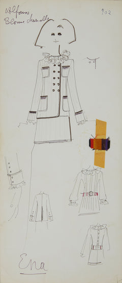 Karl Lagerfeld Original Fashion Sketch Ink Pen and Marker with Fabric Drawing 902 Ena Contemporary Art