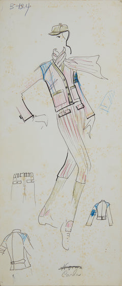 Karl Lagerfeld Original Fashion Sketch Colored Pencil Drawing B-124 Contemporary Art
