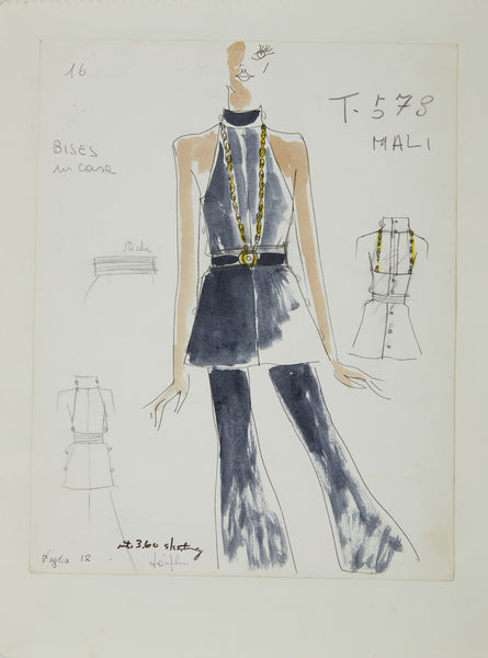 Karl Lagerfeld Original Fashion Sketch Ink Drawing with Watercolor T-578-2 Contemporary Art