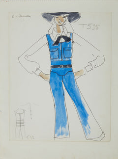 Karl Lagerfeld Original Fashion Sketch Ink Drawing with Watercolor T-595, T-12