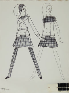 Karl Lagerfeld Original Fashion Sketch Ink Drawing with Marker and Fabric T-716