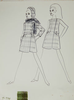 Karl Lagerfeld Original Fashion Sketch Ink Drawing with Fabric T-734