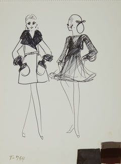 Karl Lagerfeld Original Fashion Sketch Ink Drawing with Fabric  T-754