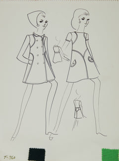 Karl Lagerfeld Original Fashion Sketch Ink Drawing with Fabric T-760