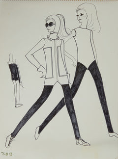 Karl Lagerfeld Original Fashion Sketch Ink Drawing with Marker T-813