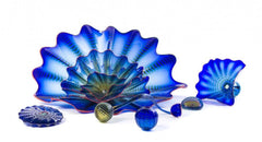 Dale Chihuly Poseidon Blue Persian Set with Red Lip Wraps Original Handblown Glass Contemporary Art