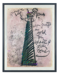 Dale Chihuly Untitled Putti Vase Charcoal and Pastel Contemporary Art Drawing