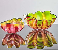 Dale Chihuly Signed Original Royal Raspberry Seaform Pair Handblown Contemporary Glass Art