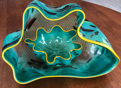 Dale Chihuly Original SeaGreen Macchia Pair Contemporary Glass Art