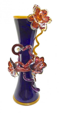 Dale Chihuly Indigo Venetian Vase with Golden Yellow Lip Wrap Contemporary Glass Art