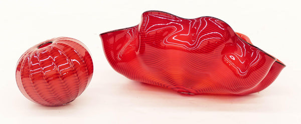 Dale Chihuly Chinese Red Seaform Pair