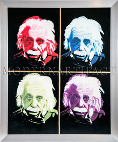 Einstein Quad Unique Original Oil Painting Signed, Original COA