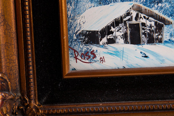 Signed Original Blue Alaskan Mountain Scene with Cabin and Northern Lights Contemporary Art