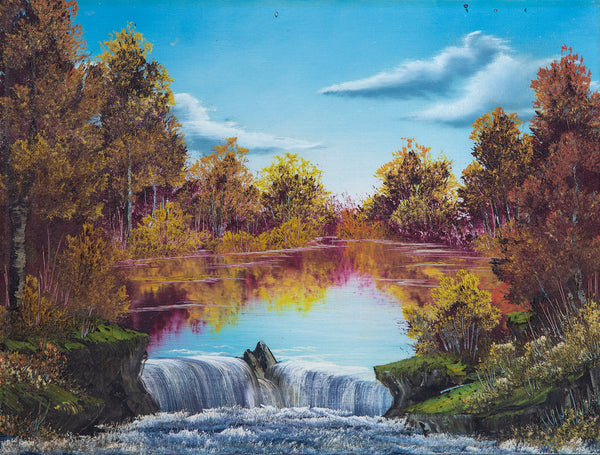 Authentic, Original Waterfall Oil Painting Contemporary Art