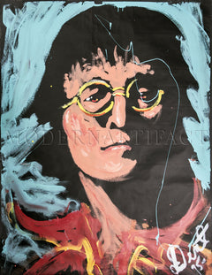 John Lennon Portrait Acrylic on Paper Authentic Painting Best Offer