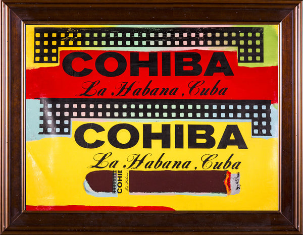 Steve Kaufman Double Cohiba Warhol Famous Assistant Pop Art Oil Painting Canvas