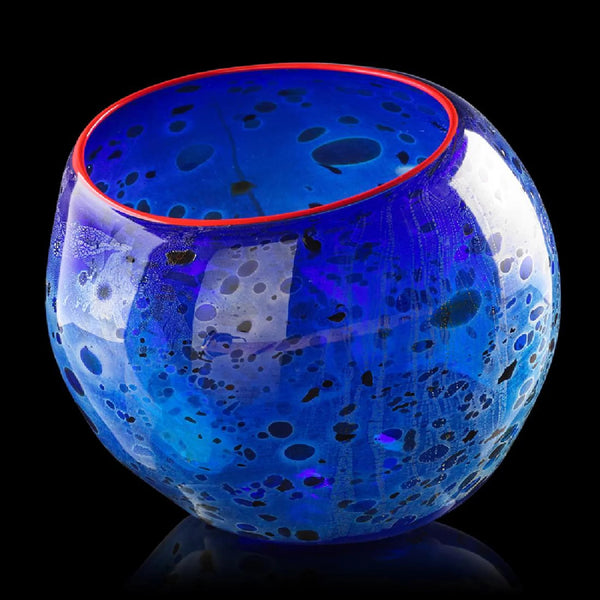 Cobalt Blue Basket with Candmium Red Lip Sold Out Edition Sculpture
