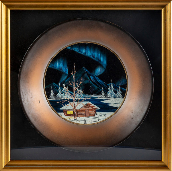 Signed Original Alaskan Northern Lights and Mountain Cabin Painting on Velvet inside Gold Pan Contemporary Art