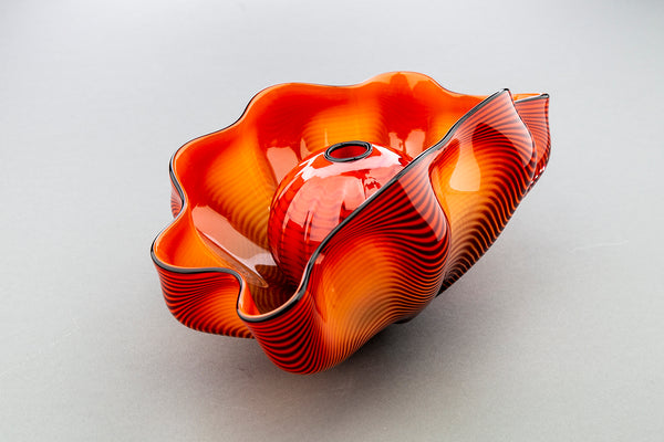 Dale Chihuly Chinese Red Seaform Pair Handblown Glass Signed Contemporary Art