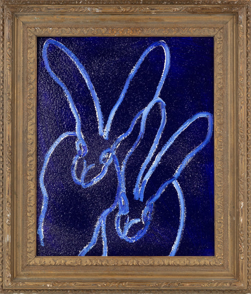 Hunt Slonem Blue Moon Diamond Dust Bunny Painting