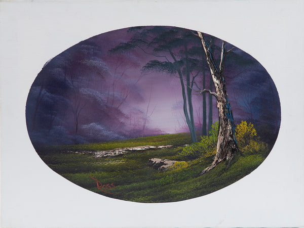 Signed Original Episode Piece Misty Forest Oval, Contemporary Art Painting