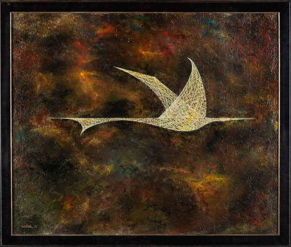 "1959 Massive Rare Original Oil Painting on Masonite board - ""Bird in Flight"""