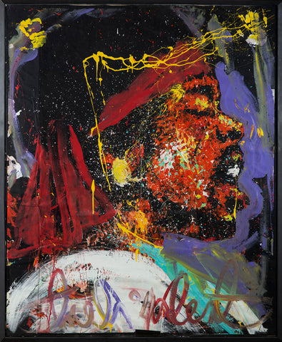 "Jimmy Hendrix Oil on Paper Original Painting Massive 71.5 x 58.5"" Rare"