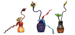 "Massive Illuminated Commissioned Ikebana Garden Hand Blown Glass Sculpture 71"" four piece 300k+"