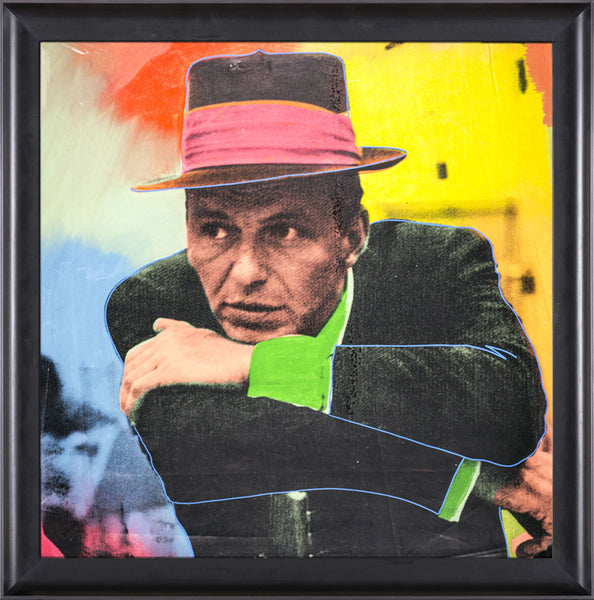 Steve Kaufman Frank Sinatra Blue Eye Warhol Famous Assistant Oil Painting Canvas