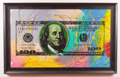 Steve Kaufman $100 Bill Original Oil Painting Pop Street Art Large Rare Benjamin