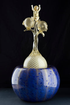Original Signed Putti and the Blowfish, One of a Kind Contemporary Glass Art