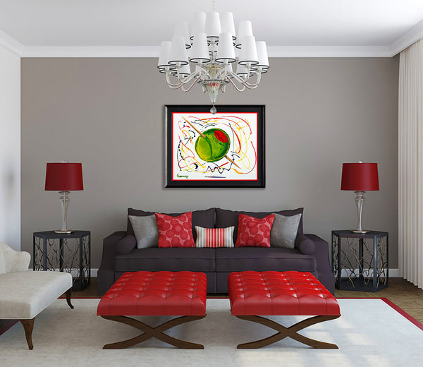 Large Olive Original Acrylic Painting on Canvas Bar Pop Art