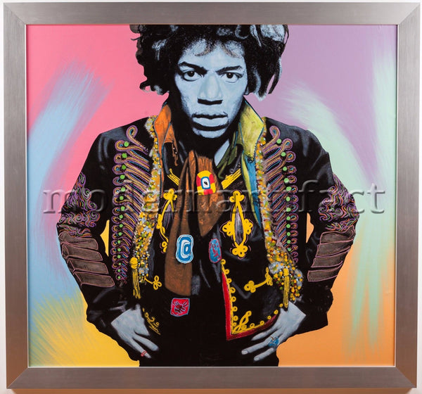 Steve Kaufman Jimi Hendrix Large Original Oil Painting 1/1 Well Documented