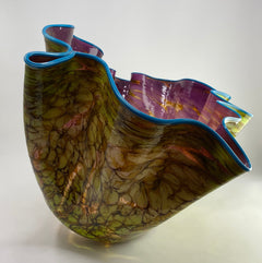 Dale Chihuly Wisteria Violet Macchia with Eucalyptus Lip Wrap Handblown Contemporary Glass Art