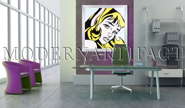 Crying Girl Large Original Oil Painting Hommage to Lichtenstein