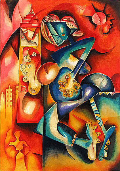 """City Runner"" Lithograph on Paper Contemporary Art Cubism"