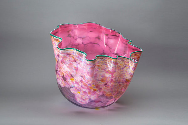 Large Authentic Hand Blown Glass Sculpture Macchia Basket Signed Dated