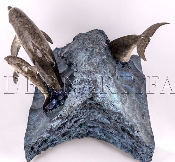 #131 Dolphin Experience Sculpture Art Furniture Coffee End Table