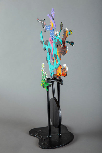 "90"" Hand Painted Metal Acrylic Sculpture Cowboy Wild West Western Art"
