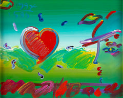 Original Acrylic on Canvas Painting Profile and Heart II, Contemporary Art