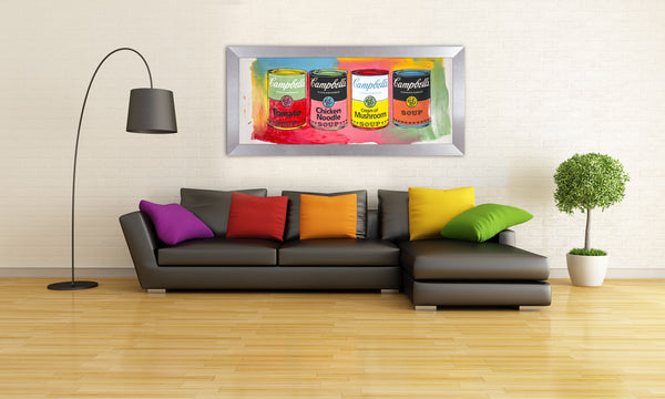 Campbells Soup Quad Warhol Famous Assistant, Pop Art Painting