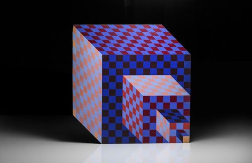 Victor Vasarely Felhoe Hand Painted Wood Sculpture Signed Proper Certificates