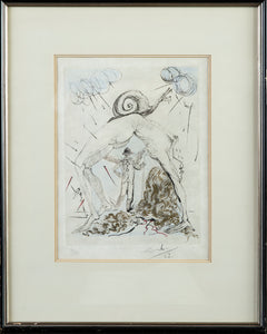Ne a L'Escargot Signed Authentic Hand Colored Etching Contemporary Art