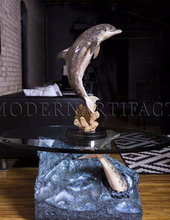 Dolphin Experience Sculpture Art Furniture Coffee End Table $20k