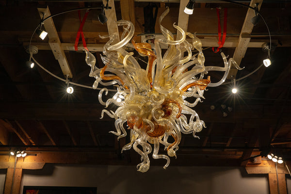 Dale Chihuly Original Handblown Glass Gold, Clear and Topaz Chandelier Contemporary Art