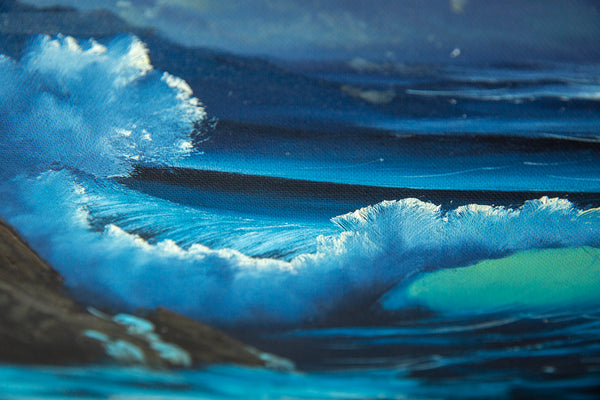 Signed Original Blue Ocean with Mountain Background Contemporary Art Painting