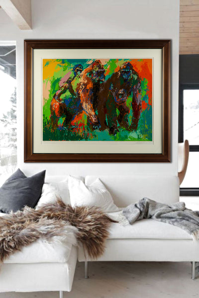 LeRoy Neiman Gorilla Family Ltd Serigrap, Signed Painting Art African Wildlife Animals