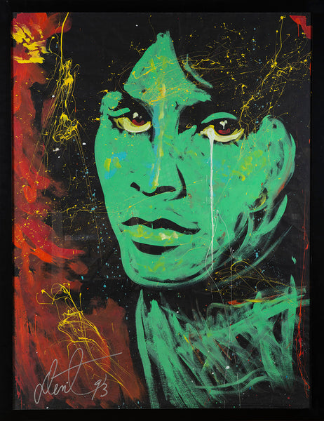 "Jim Morrison Oil on Paper Original Painting Massive, 74 1/4"" x 69 3/4"" framed Rare"