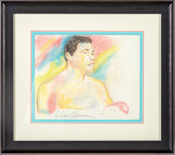 Original Colored Pencil Drawing Muhammad Ali Signed Dated Rare